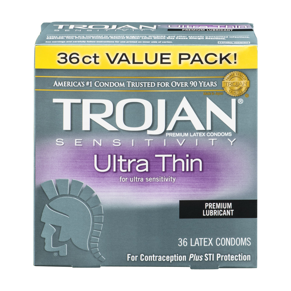 Trojan Sensitivity Ultra Thin Premium Lubricant Premium Latex Condoms - 36 CT