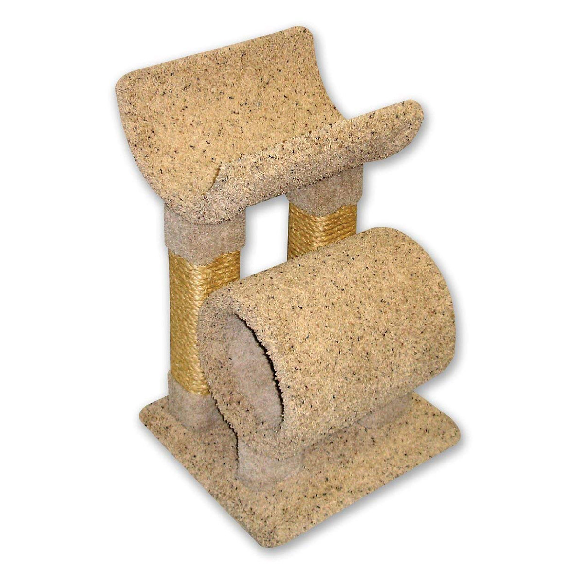 Beatrise Carpeted Cat Tunnel Tree Tower and Perch with Rope Scratching Post by Beatrise Pet Products