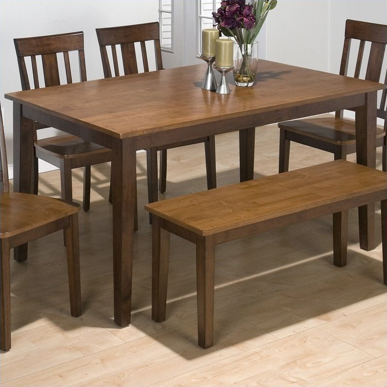 Jofran 5 Piece Rectangle Dining Room Set in Kura Espresso and Canyon Gold by Jofran