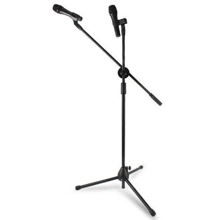 TECHTONGDA Microphone Stand Tripod Boom with Extending Boom Arm and Dual Mic Holder Clip Adjustable Collapsible