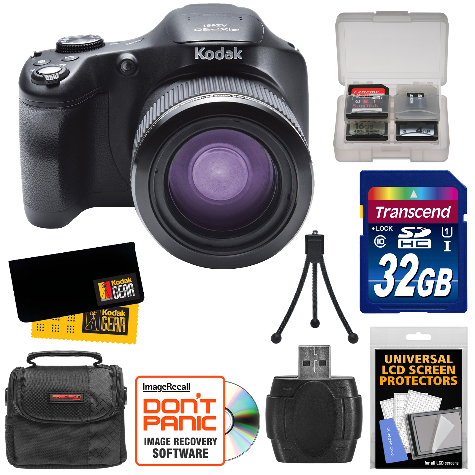 Kodak PixPro AZ651 Astro Zoom Wi-Fi Digital Camera with 32GB Card + Case + Accessory Kit by Kodak