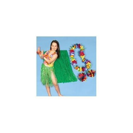 Kids Hula Skirt (Child Hula Kit - 4 Pc Set Includes Hula Skirt, Flower Lei and 2 Lei)
