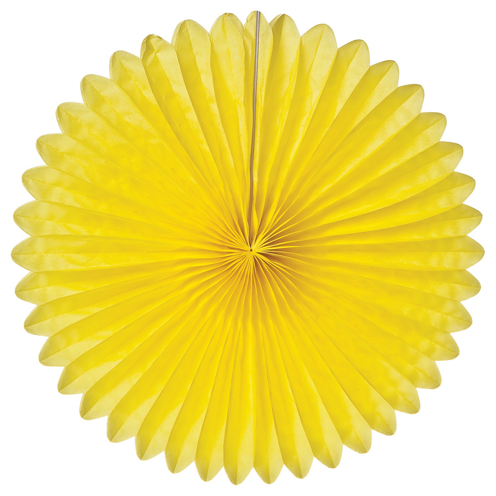 Luna Bazaar Hanging Paper Fan (14-Inch, Yellow) - Rice Paper Honeycomb Decorations - For Home Decor, Parties, and Weddings