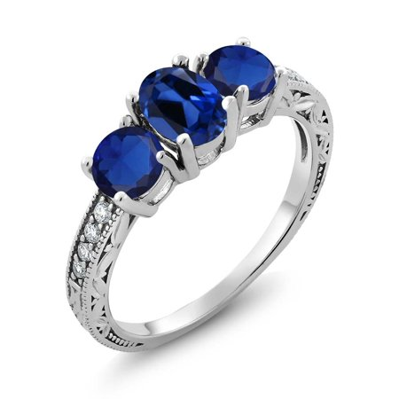Gem Stone King 2.22 Ct Oval Blue Simulated Sapphire 925 Sterling Silver Ring Oval Shaped Sapphire Ring