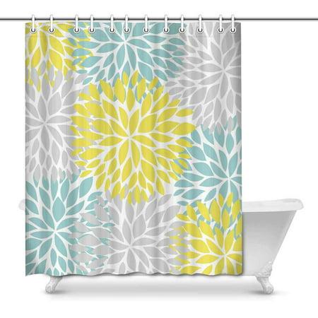 MKHERT Dahlia Pinnata Flower Yellow Light Blue and Gray Decor Waterproof Polyester Bathroom Shower Curtain Bath Decorations 66x72 inch - Yellow Shower