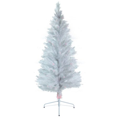 big sale fec8b 0bf35 6' ft Fiber Optic White Artificial Holiday Christmas Tree w/ Lights & Stand