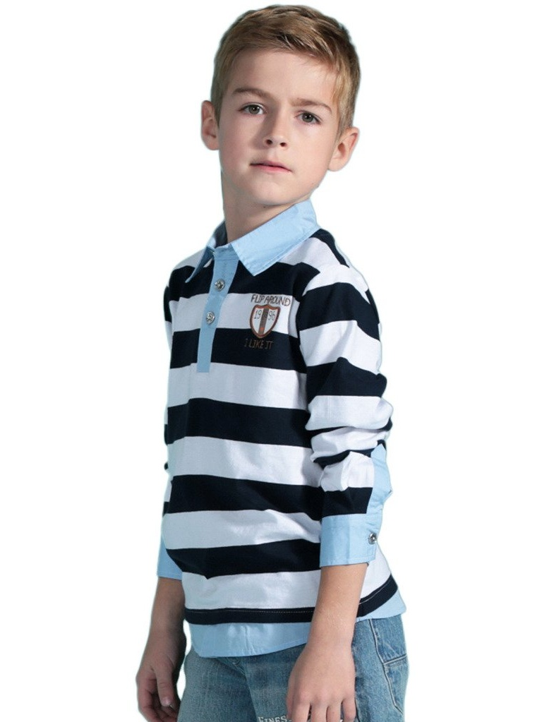 Leo&Lily Big Boys Long Sleeve Casual Stripy Polo Shirts