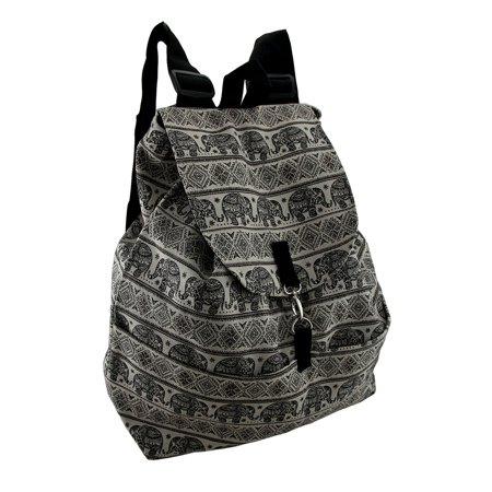 Black Boho Indian Elephant Print White Cotton Canvas Drawstring Backpack