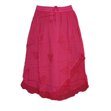 Mogul Womens Peasant Skirts Pink Embroidered A-line Bohemian Skirts](Peasant Skirt)