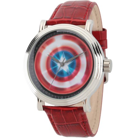 Avengers: 75th Anniversary Shields Men's Silver Vintage Alloy Watch, Red Leather Strap