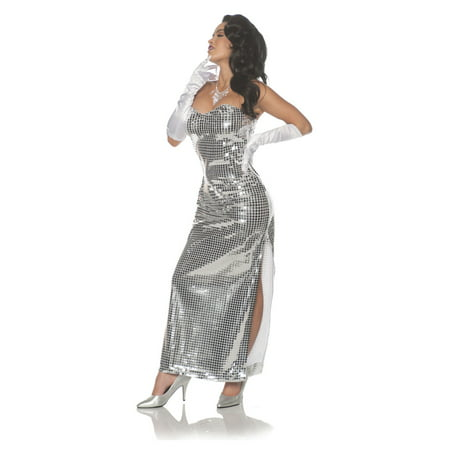 Diamond Womens Adult Sliver Diva Costume Sequin Singer Dress](Opera Singer Costume)