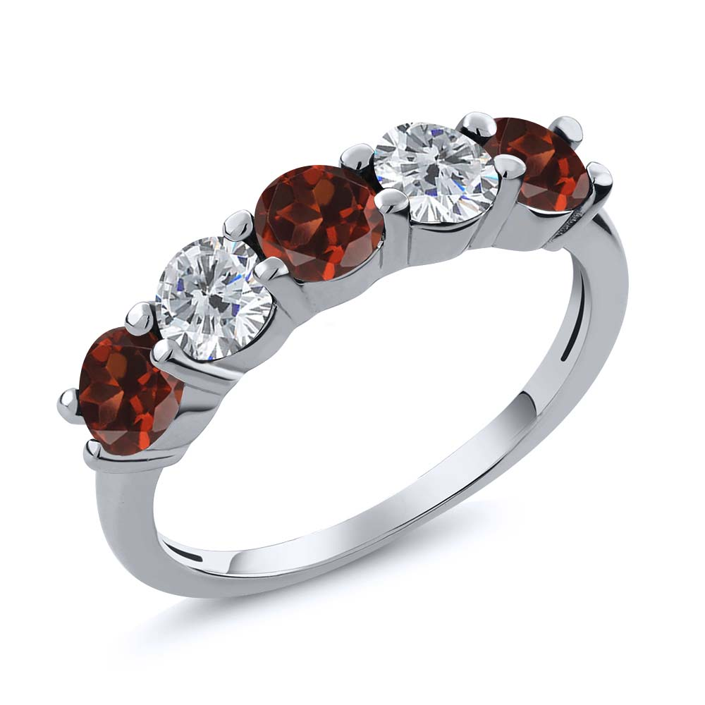0.94 Ct Round Red Garnet G/H Diamond 925 Sterling Silver ...