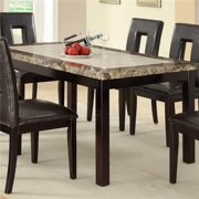 Benzara BM171261 60 x 36 x 36 in. Faux Marble & Pine Wood Dining Table - Brown