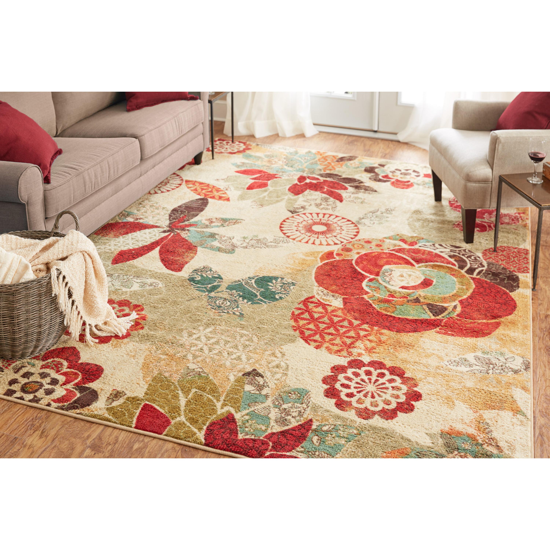 Mohawk Home Strata Geo Floral Pattern Multi Printed Area Rug 5 X8 Cream Red Walmart Com Walmart Com