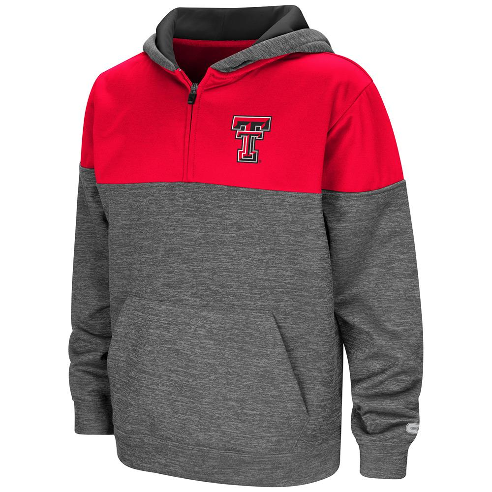 Youth Texas Tech Red Raiders Quarter Zip Pull-over Hoodie - S