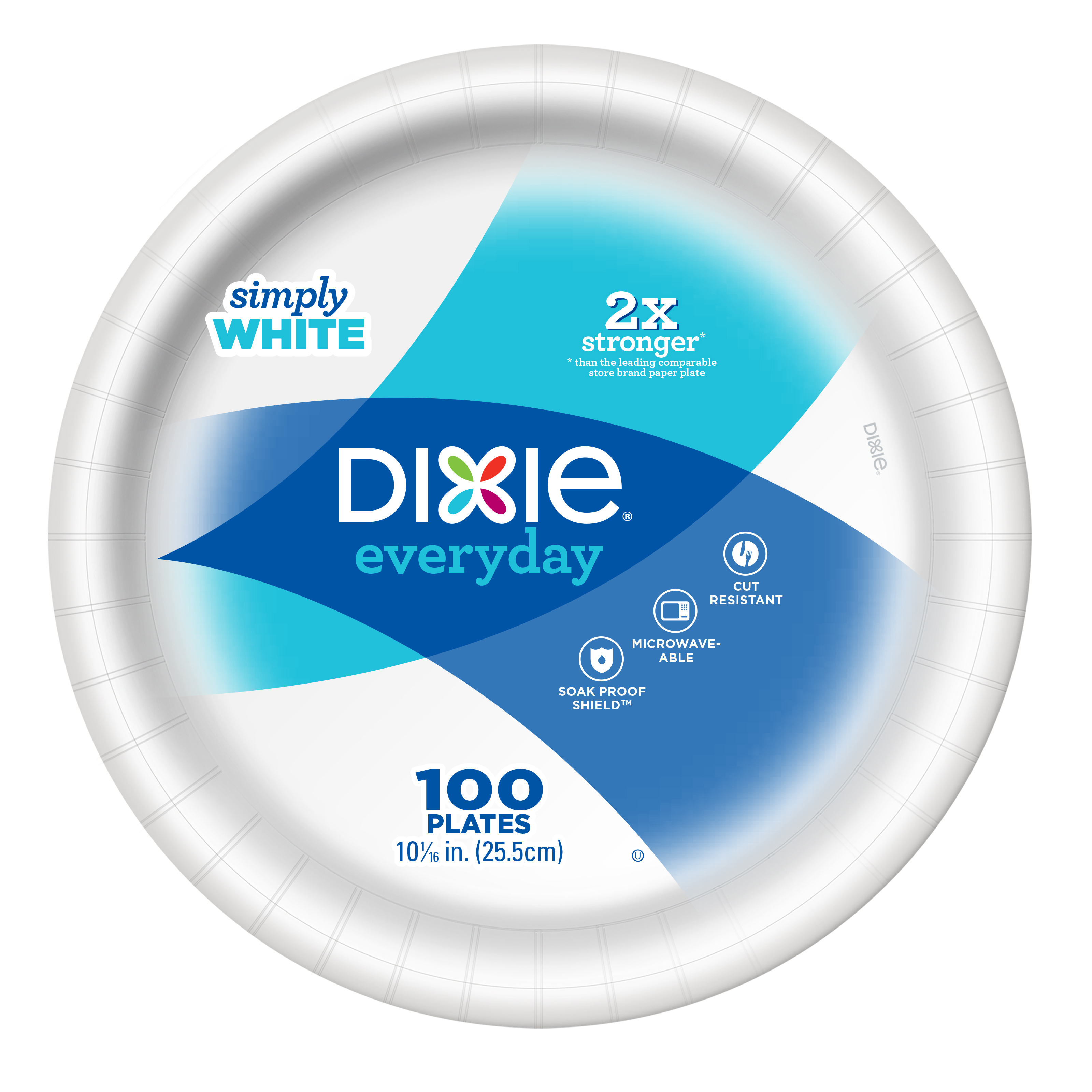 "Dixie Everyday 10"" Wht Paper Plate 100ct"