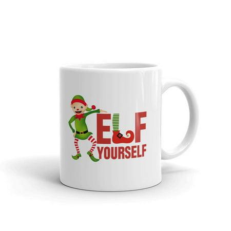 Elf Yourself Rude Yankee Swap Coffee Tea Ceramic Mug Office Work Cup