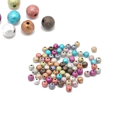 Mixed Acrylic Round Stardust Spacer, Loose Beads, 8mm, 280 Pack (1.4mm Hole)