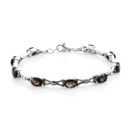 "Bracelet Stainless Steel Oval Smoky Quartz Jewelry for Women Size 7.25"" Ct 5.2"
