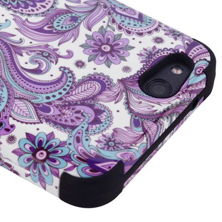 - Kaleidio Case For ZTE Avid 4 Z855 / Fanfare 3 [TUFF Armor] Impact Protective Hybrid [Shockproof] 3-Piece Dual Layer Rubber Cover w/ Overbrawn Prying Tool [Blue & Purple Paisley]