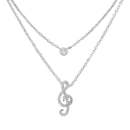 925 Sterling Silver Double Chain Bezel-Set CZ Music Musical Clef Womens Pendant Necklace