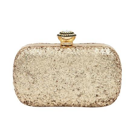 Elegant Glitter Flakes Sequin Hard Clutch Rhinestones Top Evening Bag
