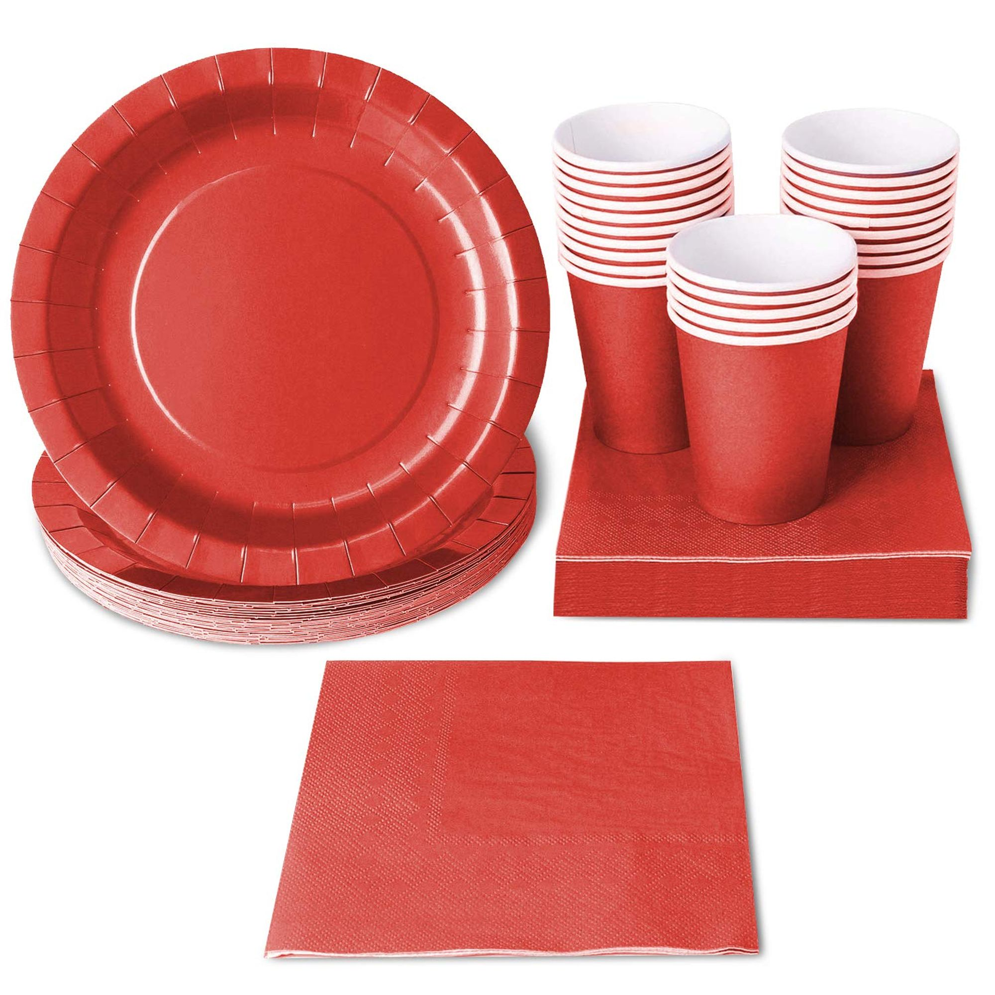 Red Party Supplies - 24-Set Paper Tableware - Disposable ...
