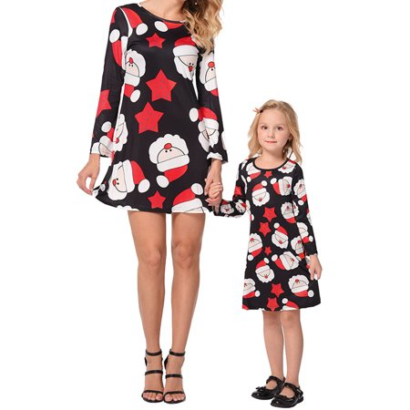 Ustyle Mother Kids Matching Outfits Long Sleeve Dress Christmas Pringting Short Dress - image 8 of 9