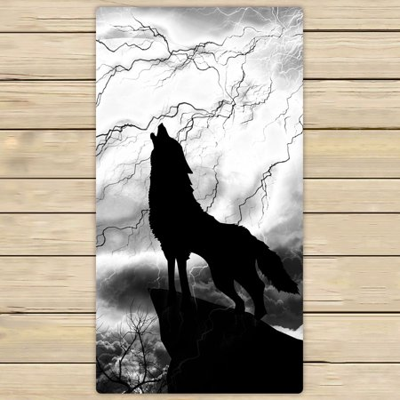 Wild Animals Bath (YKCG Black and White Gray Wildlife Animal Howling Wolf Hand Towel Beach Towels Bath Shower Towel Bath Wrap For Home Outdoor Travel Use 30x56 inches)