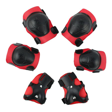 Roller Knee Pads (6pcs Bicycle Roller Skating Wrist Elbow Knee Pad Protector Guard Red Black )