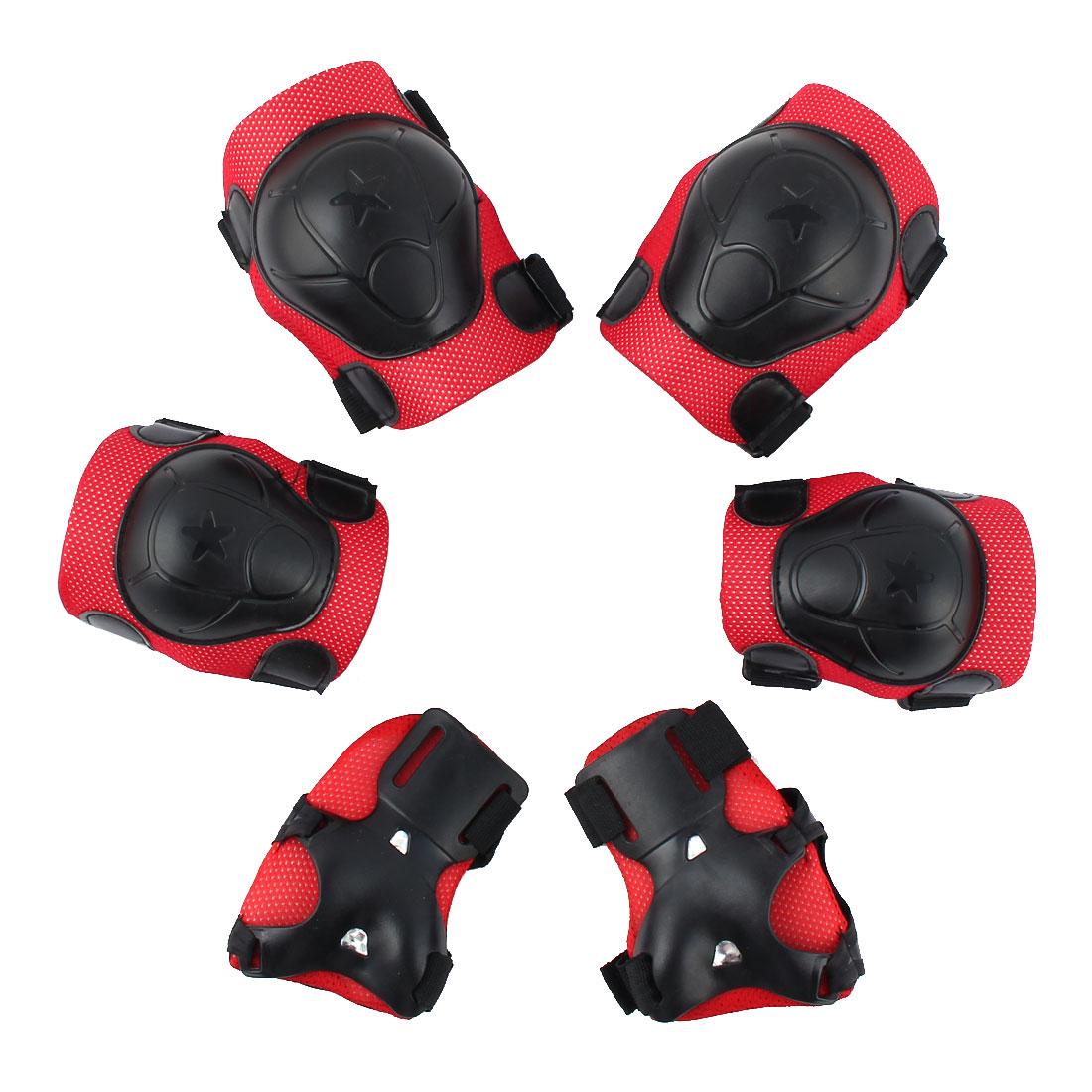 6pcs  Bicycle Roller Skating Wrist Elbow Knee Pad Protector Guard Red Black