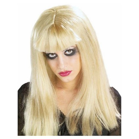 Adult Womens Costume Blonde Gothic Malice In Horrorland Wig With Bangs - Blonde Wig With Bangs
