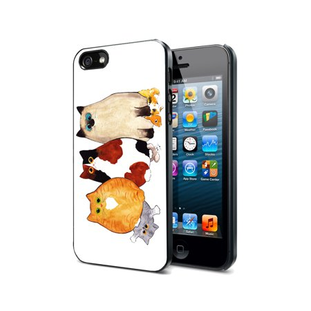 KuzmarK Black Cover Case fits iPhone SE & iPhone 5 - Kitties Behaving Badly Art by Denise Every ()