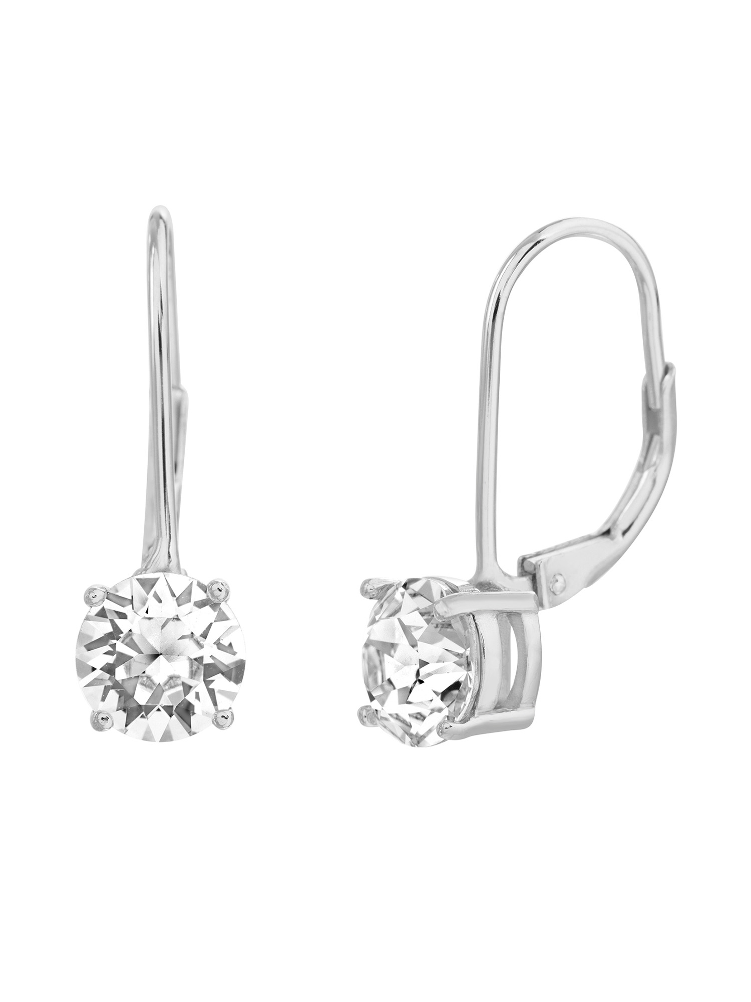 Faceted Crystals Lever Back Earring in Sterling Silver made with Swarovski Crystals
