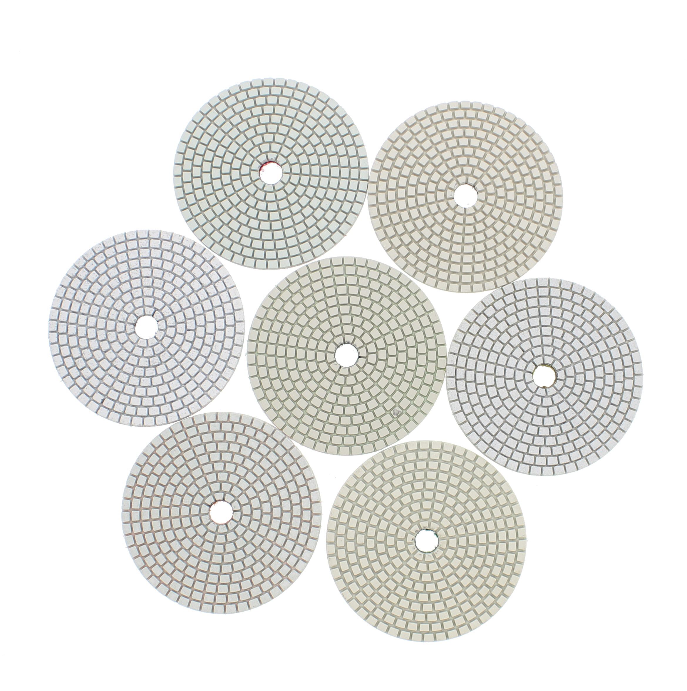 """Dry 4/"""" Diamond Polishing Pads 8 Piece Set with Buffer Rubber Backer for Granite"""