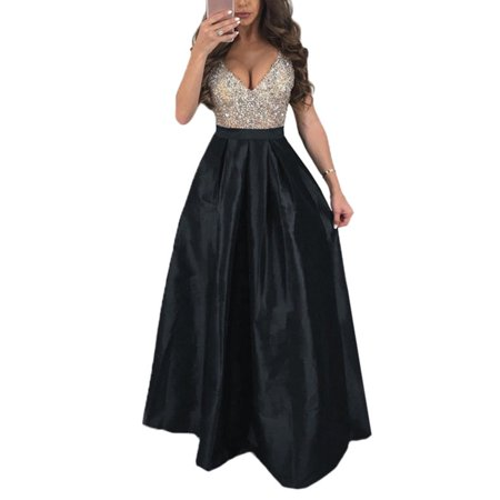 Women Evening Party Long Maxi Dress Deep V Neck Sleeveless Sequin Skater Dresses