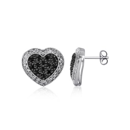 1/2 Carat T.W. Black and White Diamond Sterling Silver Earrings