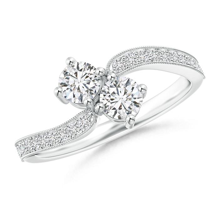 Angara Two Stone Diamond Bypass Ring in Platinum OILt0vTBbx