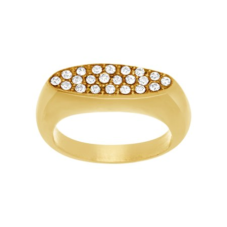 Lesa Michele Crystal Oval Flat Top Ring in Gold IP Plated Stainless Steel