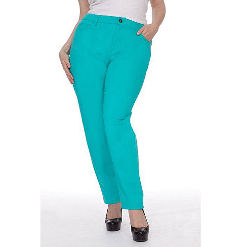 Plus Moda Women's Plus-Size Cuffed Skinny Jeans