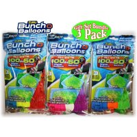 Zuru Bunch O Balloons Instant 100 Self-Sealing Water Balloons Complete Gift Set Bundle - 3 Pack (300 Balloons Total in ASSORTED Colors)