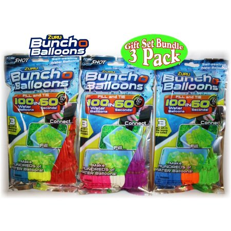 Zuru Bunch O Balloons Instant 100 Self-Sealing Water Balloons Complete Gift Set Bundle - 3 Pack (300 Balloons - Water Ballons