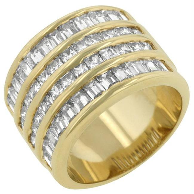 4 Row Gold Cubic Zirconia Cocktail Ring, <b>Size :</b> 09