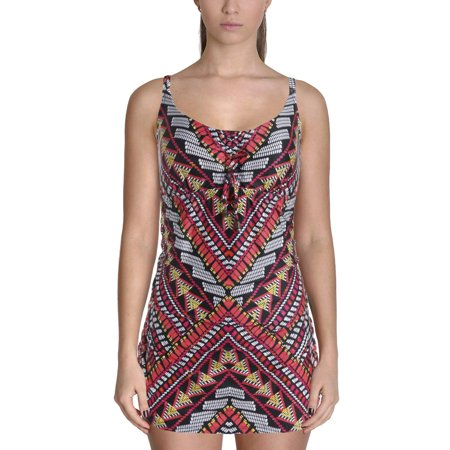 Becca by Rebecca Virtue Womens Plus Printed Tummy Control One-Piece Swimsuit ()