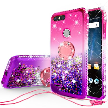 ZTE Sequoia Case, Blade Z Max,Z982 Case,Liquid Glitter Phone Case Kickstand Ring Stand Shock Proof Floating Quicksand Bling Sparkle Protective Cover for Girls Women -Pink Gradient
