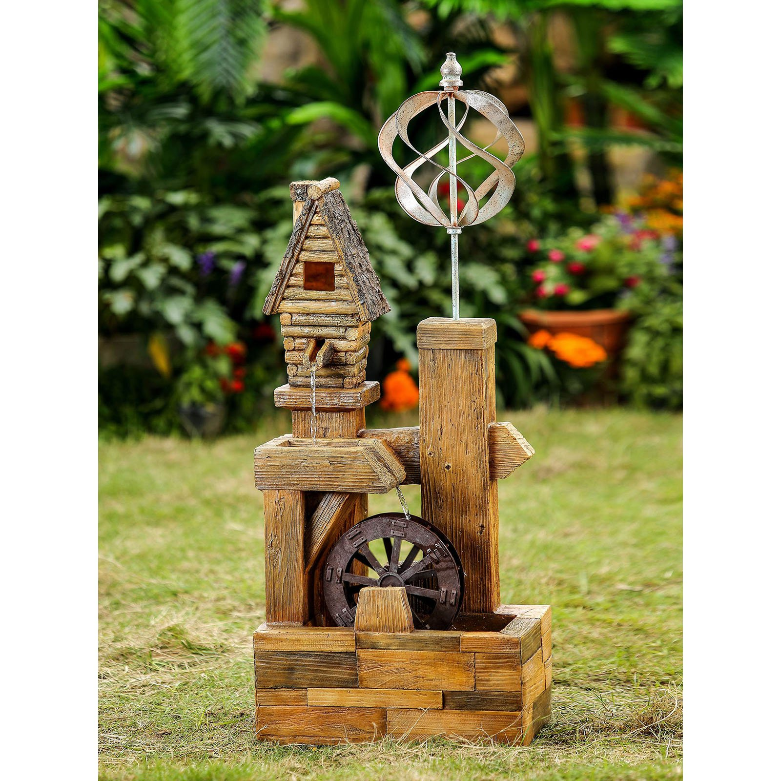 Jeco Wood Look Birdhouse with Wind Spinner by Wind Spinners