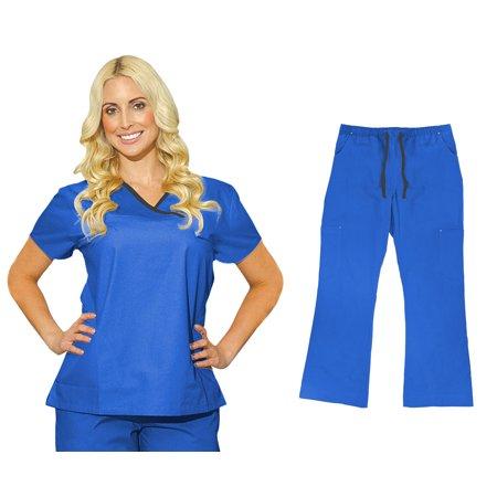 3305a450590 Medgear - MedGear Womens Fitted Scrubs Set, Top & Cargo Pants, Medical  Uniform 7870 - Walmart.com