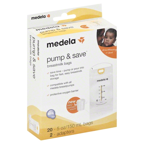 Medela Pump and Save Bags, 20 ct