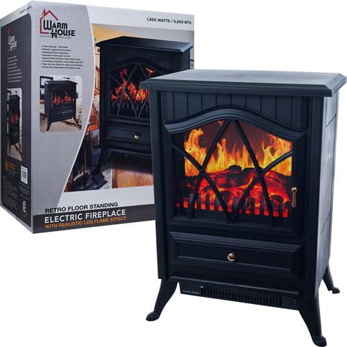 Trademark Poker 80-40608 Warm House Retro Floor Standing Electric Fireplace