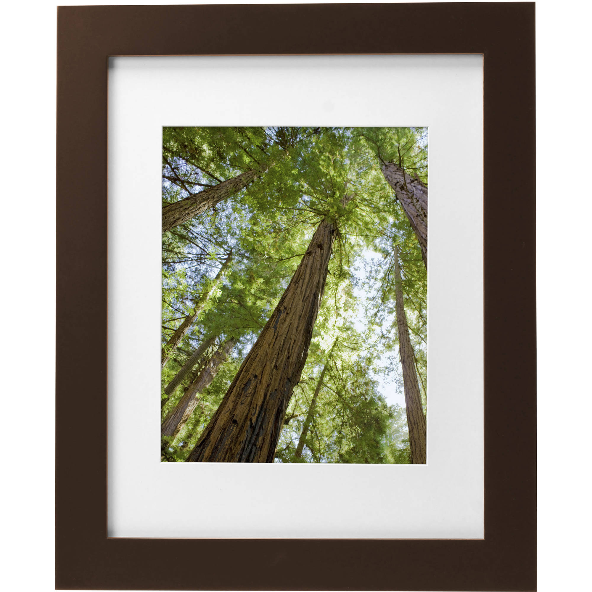 "Mainstays Museum 11"" x 14"" Matted to 8"" x 10"" Solid Wood Picture Frame, Mahogany"